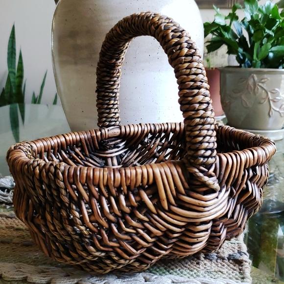 Vintage French Handwoven Wicker Garden Basket